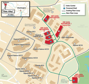 Map of data centers immediately surrounding the Equinix campus and Beaumeade Circle.