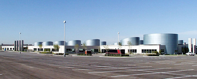 DRT's Webb Chapel data center utilizes Aesthetically pleasing cylinders on the roof to hide mechanical infrastructure
