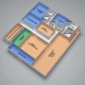 Data Center Layout of showing the colocation rooms, Meet Me Room, Mechanical, and Switch Gear.