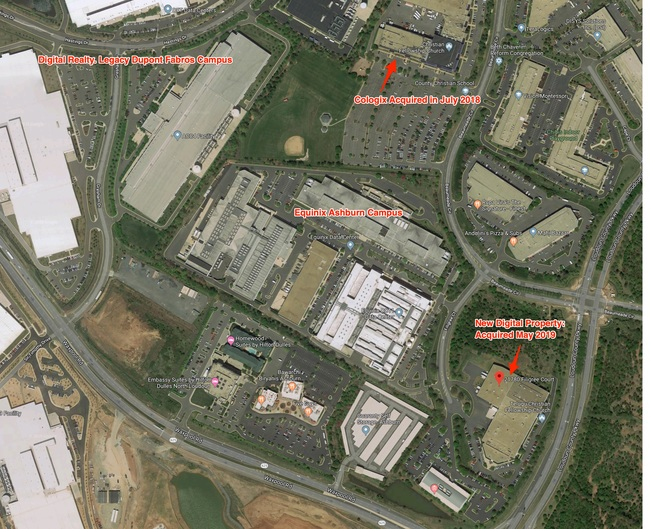 Satellite view of the Digital Realty Trust's new building and its proximity to Equinix Ashburn, and Cologix's new site
