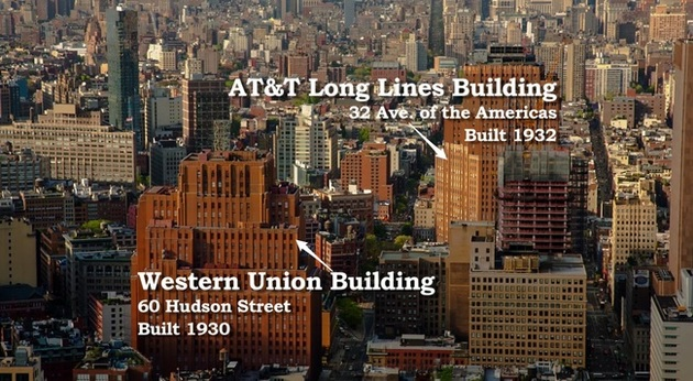 The Western Union Building on Hudson Street is approximately 4 blocks from the AT&T Long Lines Building on 6th Street