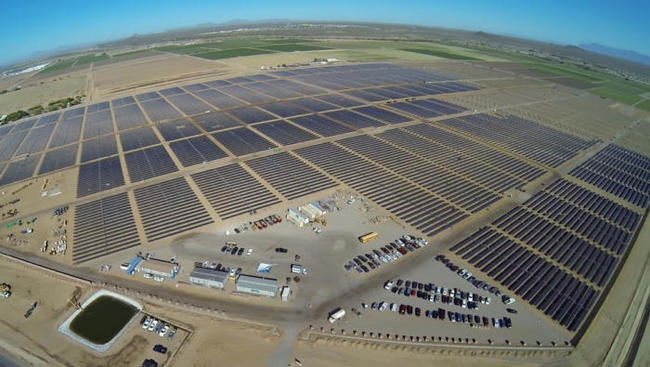 Apple built a 50MW solar power plant on 300 acres in Florence, Ariz., which is used to power its Mesa data center.