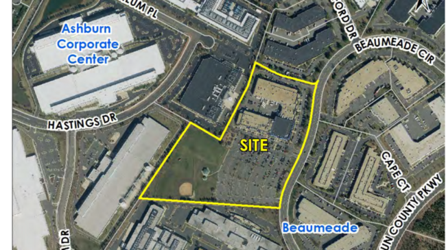 The lot currently has a 211,125-square-foot, two-story church, child care center, and private school building.