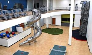 The building features 30,000 square feet of customer office space, a modern cafeteria, a gym area with workout machines, and unique recreation space featuring a climbing wall, circular slide and a ...