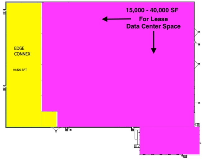 Yellow = EdgeConnex's data center Pink = Space for lease