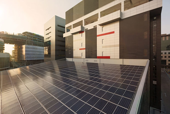 Solar panels are used to power non-essential equipment