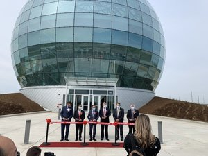 Foxconn opens globe-shaped data center at Wisconsin facility