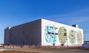 Jenny Odell, a Bay Area digital artist, was commissioned to jazz up the structure in Mayes County, Oklahoma as part of Google's Data Center Mural Project.  Odell created four circular collages us...