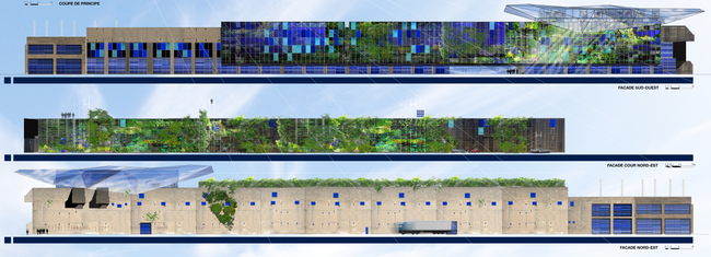 The MRS 3 design vision: southwest facade (top), inner courtyard wall with a vertical garden (middle), northeast facade