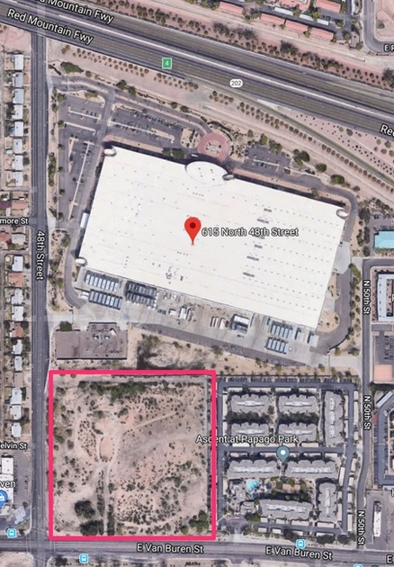 The expansion lot for Iron Mountain Phoenix campus is marked with a red box. IO Data Centers LLC originally acquired the land in 2016 for $8.55 million.