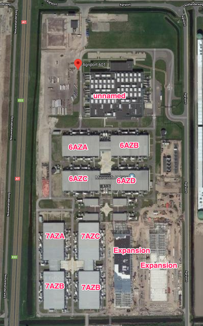 Map shows 5 buildings with 2 expansion building under construction as of early 2020