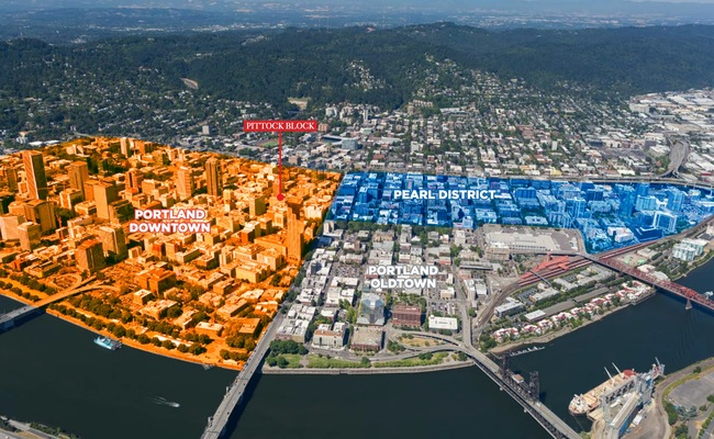 Pittock Block is in Portland downtown. The image shows the building's distance to the Pearl District and Oldtown areas.