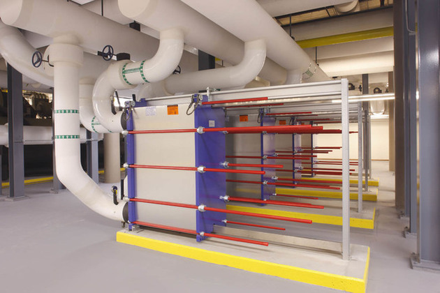 In a gasketed plate and frame heat exchanger, the fluids run counter-currently through the heat exchanger. The hot liquid normally enters through one of the upper connections and leaves through the...