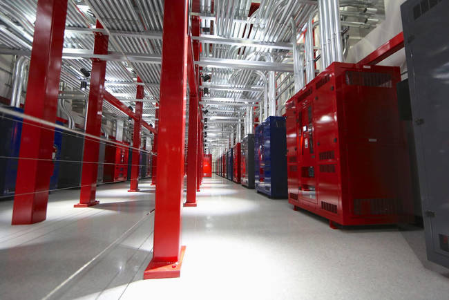 A view of the power spine inside SuperNAP complex in Las Vegas, showing the large number of conduits housing power cabling.