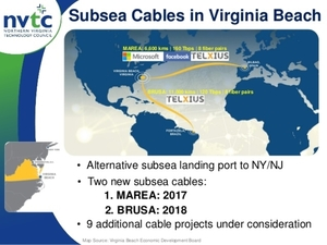 MAREA and BRUSA cables are now landing in Virginia Beach. The Virginia Beach landing port provides an alternative to NY and Flordia landing stations.